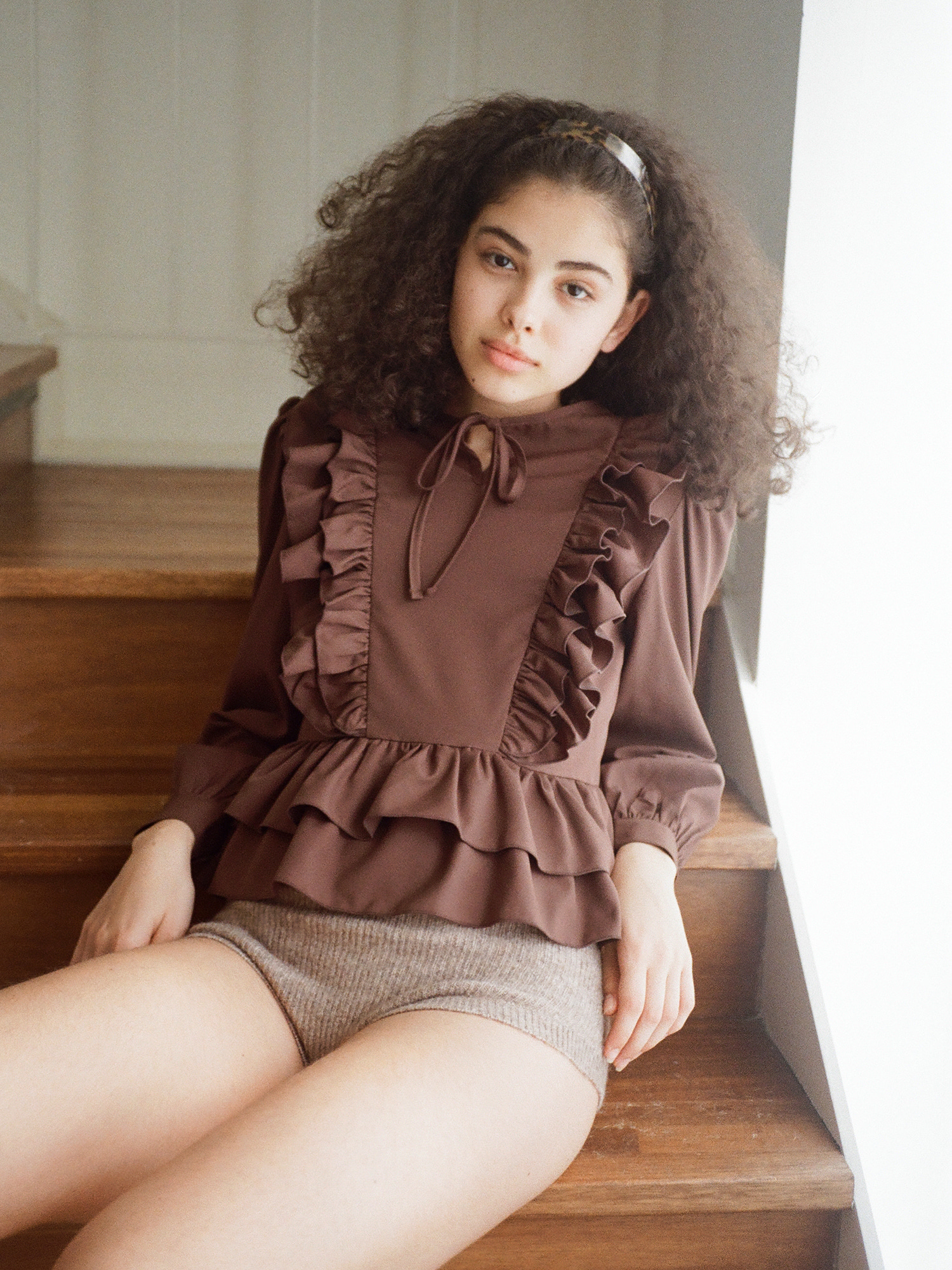 Double frill blouse_brown